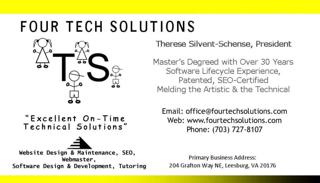 business card - Four Tech Solutions | Leesburg VA