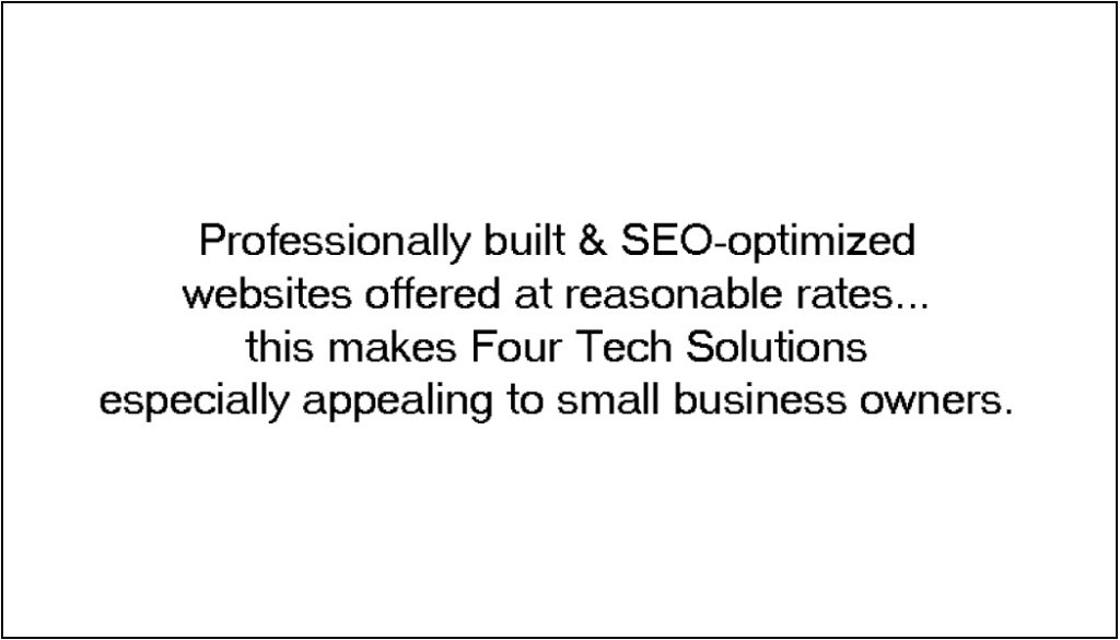 business card back - Four Tech Solutions | Leesburg VA